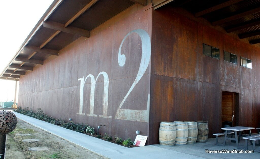 The steel clad tasting room and winery at m2 Wines