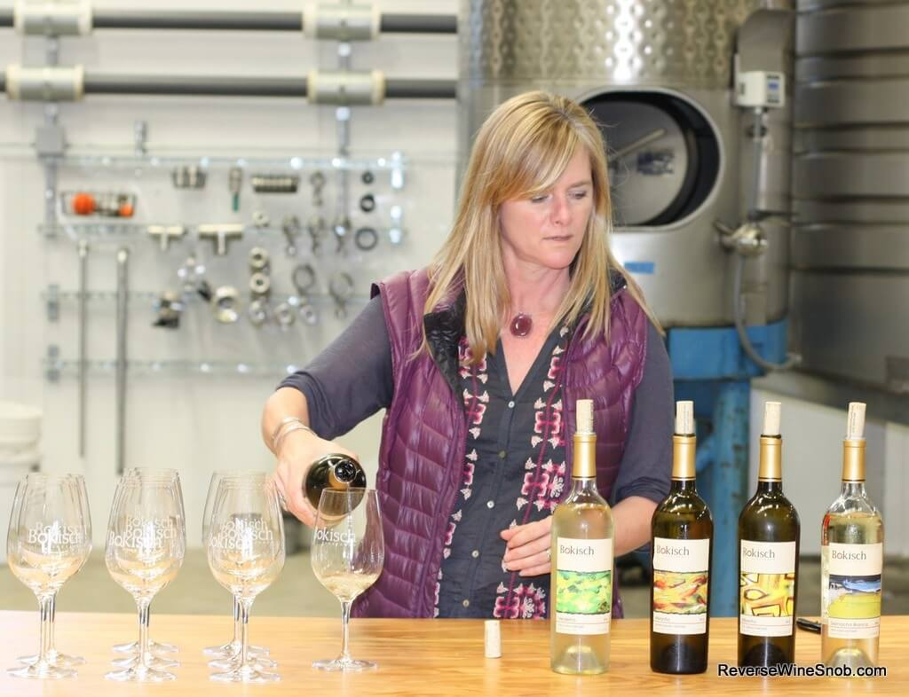 Liz Bokisch readies for our tasting of the Bokisch Vineyards white wines.