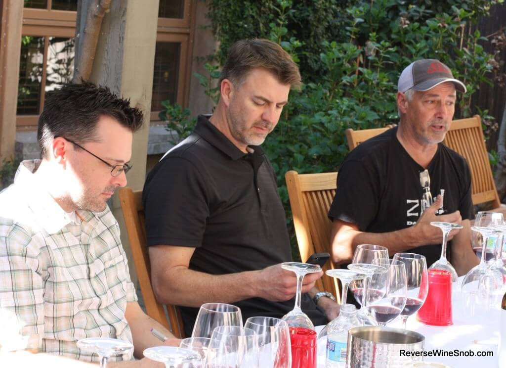 Tasting the Lodi Native Zinfandels with the winemakers. (Ryan Sherman of Fields Family Wines and Tim Holdener of Macchia Wines pictured to my right.)