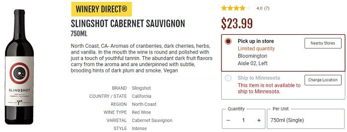 Slingshot North Coast Cabernet Sauvignon Total Wine Price