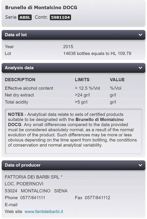 2015 Kirkland Signature Brunello di Montalcino Traceability Results