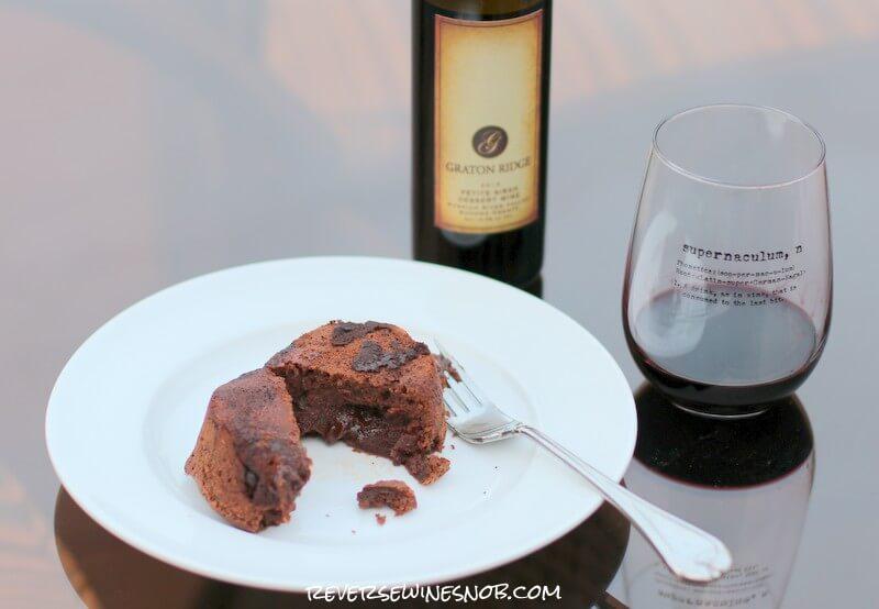 Graton Ridge Petite Sirah Dessert Wine and Chocolate Lava Cake