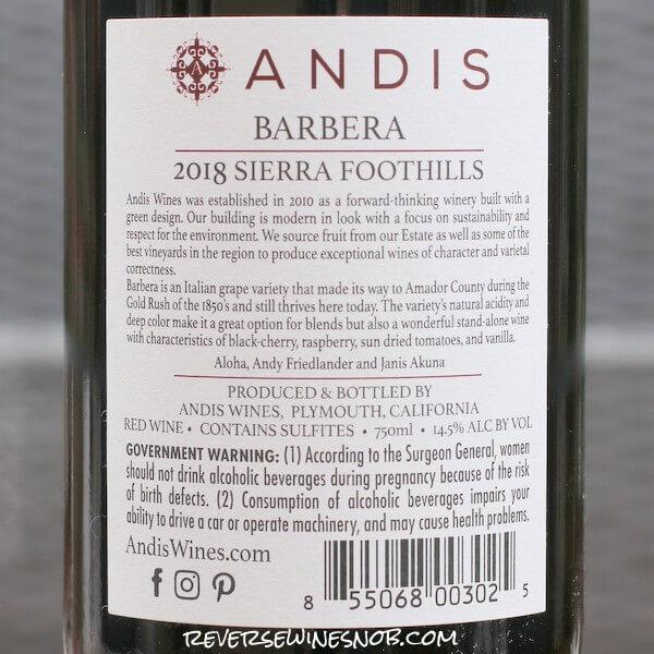 2018 Andis Wines Barbera d'Amador Back Label