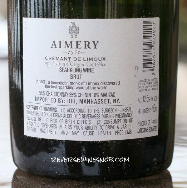 Aimery 1531 Cremant de Limoux Brut Back Label