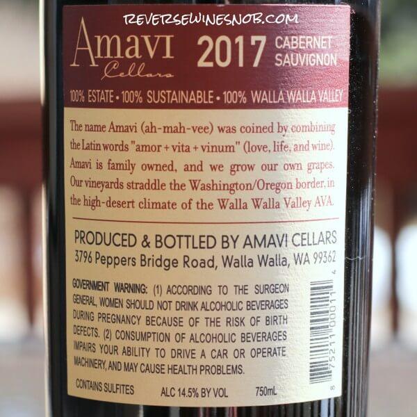 2017 Amavi Cellars Cabernet Sauvignon Back Label