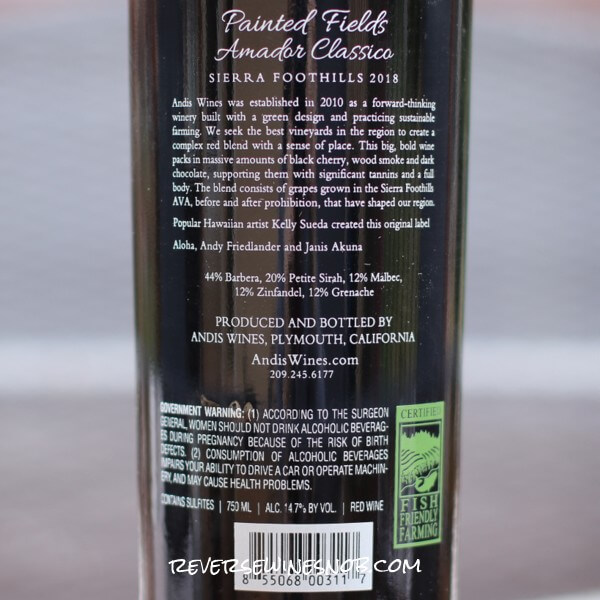 2018 Andis Wines Painted Fields Amador Classico Back Label