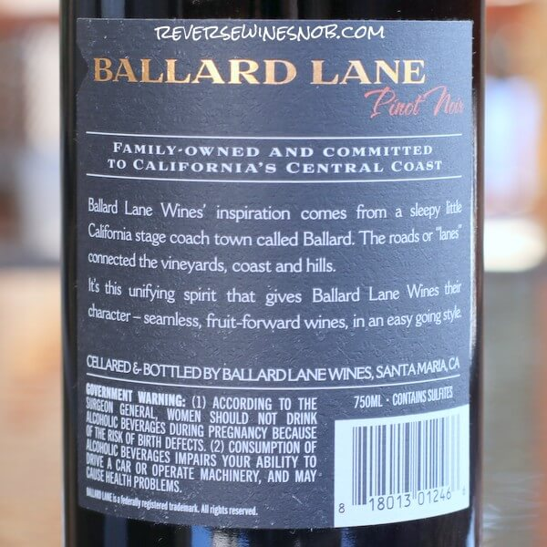 2018 Ballard Lane Pinot Noir Back Label