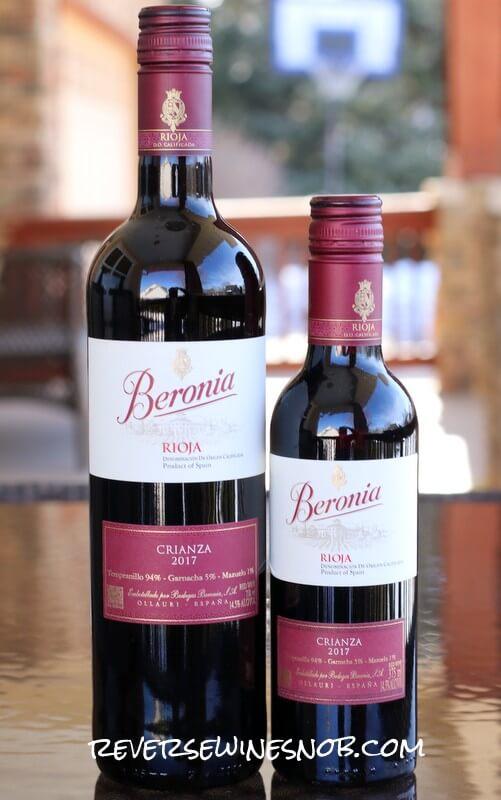 Beronia Crianza 750ml and 375 ml bottles