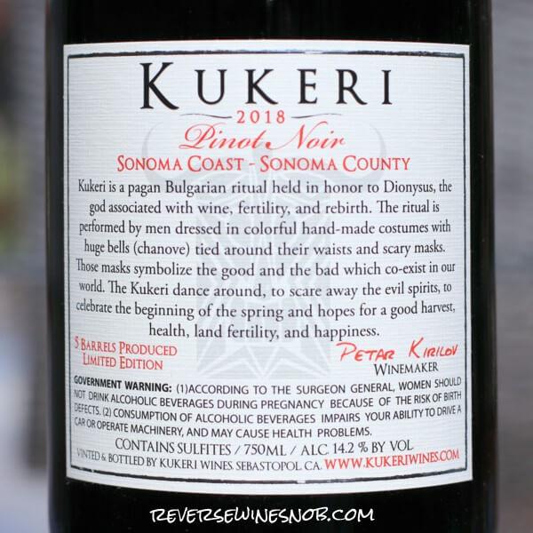 2018 Kukeri Lakeville Vineyard Petaluma Gap Pinot Noir Back Label