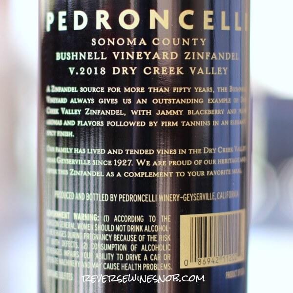 2018 Pedroncelli Bushnell Vineyard Zinfandel Back Label
