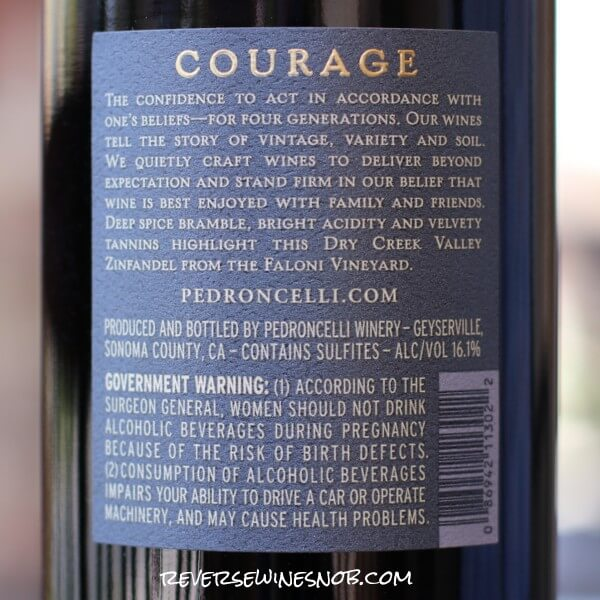 2017 Pedroncelli Courage Zinfandel Back Label