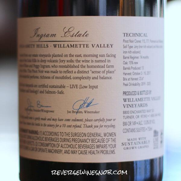 2017 Willamette Valley Vineyards Ingram Estate Pinot Noir Back Label