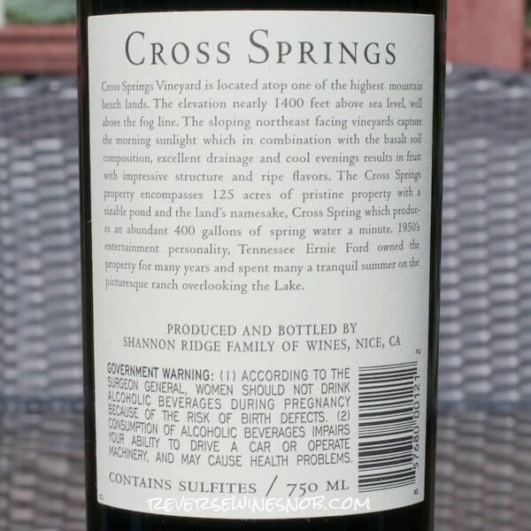 2019 Cross Springs Vineyard Cabernet Sauvignon Back Label