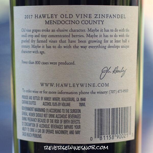 2017 Hawley Winery Old Vine Zinfandel Back Label