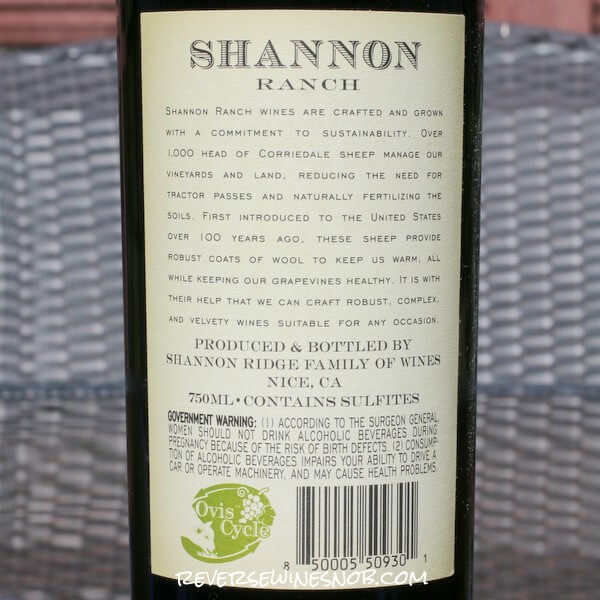 2019 Shannon Ranch Cabernet Sauvignon Back Label