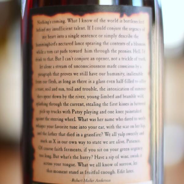 2017 Writer's Block Pinot Noir Back Label