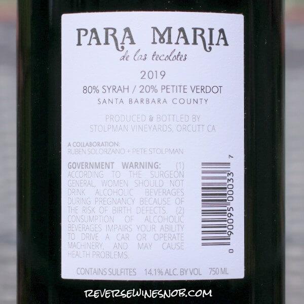 2019 Stolpman Vineyards Para Maria de los Tecolotes Back Label
