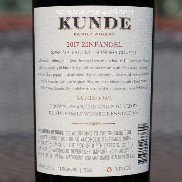 2017 Kunde Sonoma Valley Zinfandel Back Label