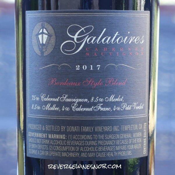 2017 Donati Family Vineyard Galatoire's Cabernet Sauvignon Back Label