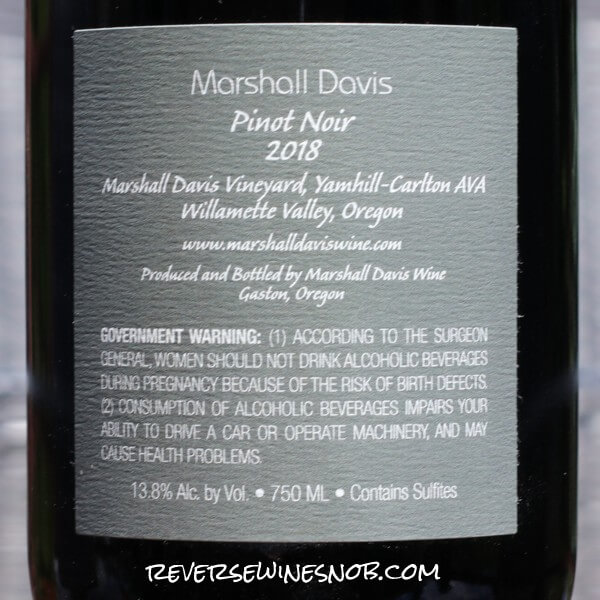 2018 Marshall Davis Vineyard Estate Pinot Noir Back Label