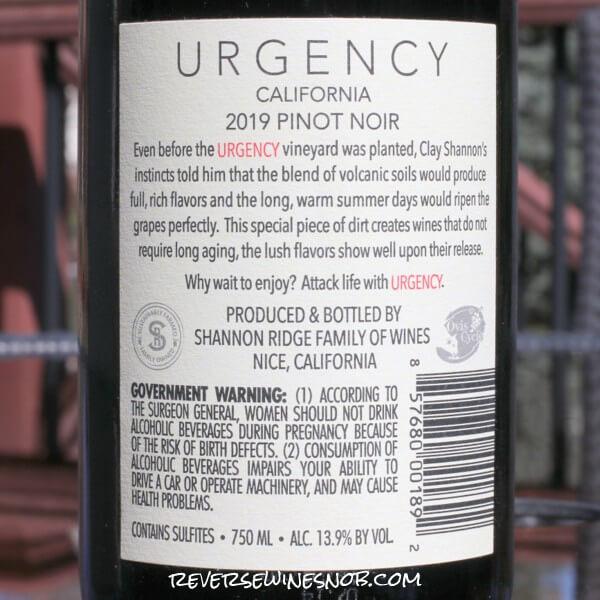 2019 Urgency Pinot Noir Back Label